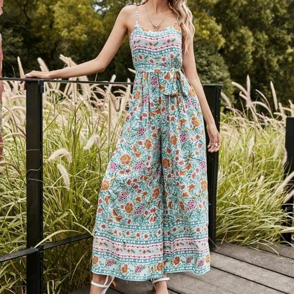 Floral Print Belted Cami Jumpsuit